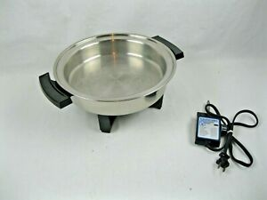 """TOWNCRAFT  11"""" Electric Skillet/ no lid  Stainless Steel USA!"""