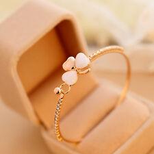 Fashion Charm Women Flower Crystal Gold Plated Cuff Bracelet Bangle Jewelry UK