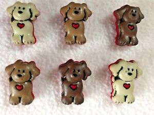 DRESS IT UP BUTTONS ~ RUFF RUFF ~ 6 CUTE DOGS with RED HEART ~ PET ~ ANIMAL ~