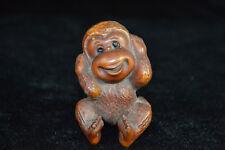 China Collectible Old boxwood handwork cartoon lovely monkey rare netsuke Statue