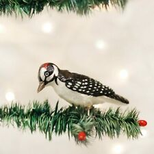 Old World Christmas Hairy Woodpecker Blown Glass Clip-On Xmas Ornament 18039