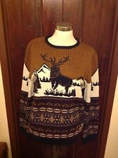 BURTON BROWN NAVY BLUE & CREAM NORDIC FAIRISLE STAG JUMPER SIZE SMALL