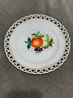 Vintage Antique Reticulated Porcelain Plate w/ Painted Fruit & Gold Decoration