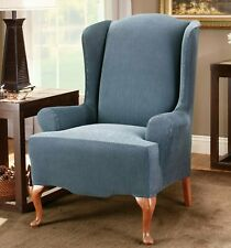 NEW Sure fit stretch stripe wing chair slipcover navy blue one piece