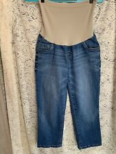 Ho Baby By Motherhood Maternity Capri Denim Blue Jeans Size L