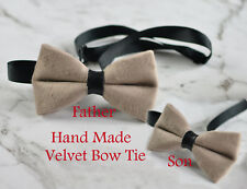 82b8052aa3c9 Father Son Match Handmade Mink Pavilion Beige Velvet Bow Tie Bowtie Wedding