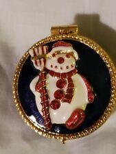 Vintage Christopher Radko Enameled Frosty Snowman Ring/Pill Trinket Box