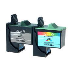 2PK 10N0016 10N0026 For Lexmark 16 26 Black Color Ink Cartridge Z600 Z517 1200i