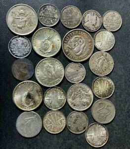 Vintage World Silver Coin Lot - 1871-1952 - 22 Excellent Silver Coins - Lot #S16