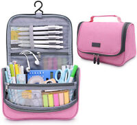 Big Capacity Pen Pencil Case Holder Bag Pen Organizer Pouch Stationery (Pink)