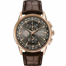 Citizen Eco-Drive Rose Gold Tone A-T Chrono Leather Strap Men's Watch AT8113-04H