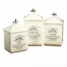 Set of 3 Cookie Jar Canister Set Kitchen Storage Earthenware Off White French