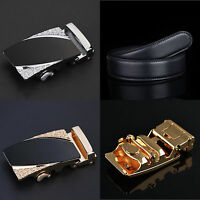 Cool Men's Genuine Leather Engrave Automatic Buckle Waist Strap Belt Waistband