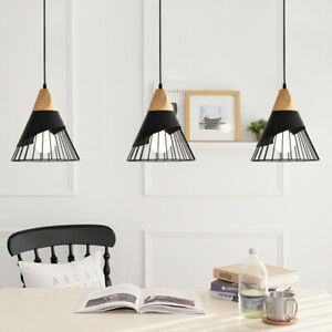 3X Kitchen Pendant Light Wood Lamp Black Pendant Lighting Modern Ceiling Lights