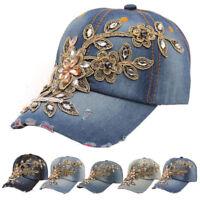 Women Glitter Rhinestone Bling Hats Adjustable Denim Baseball Cap Tennis Hat