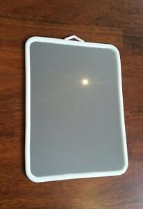 Soft plastic framed utility cosmetic mirror with built in hanger 21.5cm x 30cm