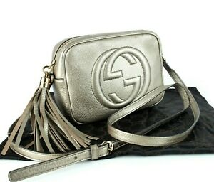 Auth GUCCI SOHO Disco Tassel Champagne Leather Crossbody Shoulder Bag Purse