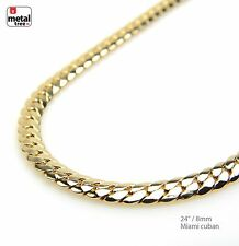 Men's 8 mm Solid 14 kt Yellow Gold Plated Miami Cuban Link Chain Necklace 24""