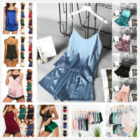 2Pcs Pajamas Set Sexy Lounge Short Solid Ice Silk Lingerie Nightgown Sleepwear