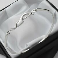 Plain Solid 925 Sterling Silver Fantasy Wave Design Bangle Bracelet by Kit Heath