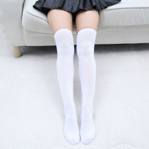 Women Solid Color Over Knee Thigh High Boot Socks Lady Leg Warmer Long Stockings