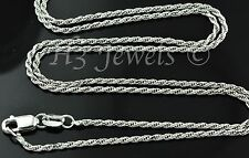 14k solid white gold rope chain necklace 24 inches italian #3443 5.00 grams