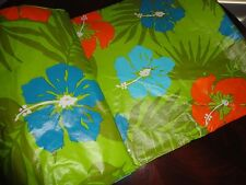 KOHL'S HIBISCUS VINYL FLANNEL FLORAL GREEN ORANGE OBLONG TABLECLOTH 70 X 90 8-10
