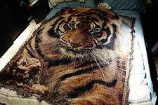 """50""""X60"""" throw blanket tapestry woven afghans wall hangings cotton decor tiger"""