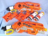 Pair of Hasbro Nerf Zombie Strike Scravenger Guns with Barrel & Stock Extensions