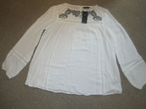 LADIES WHITE BLOUSE SIZE 12 NEW & TAG MARKS & SPENCER BLACK EMBROIDERY L/SLEEVES