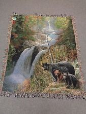 Bear-Throw-Afghan Autumn Mist by Kevin Daniel woven50 x 60 inches made USA Lodge
