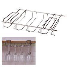 Hanging Under Shelf Metal Wine Glass Holder Rack Bar Stemware Organiser Storage