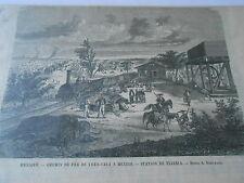 Gravure 1864 - Mexique Chemin de Fer de Vera Cruz à Mexico Station de Tejeria