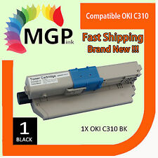 1x Compatible OKI C310 black toner cartridges for OKI C310dn C310n C330dn
