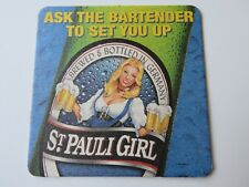 Beer Coaster ~ ST PAULI GIRL Bier ~ Ask the Pretty Girl Bartender to Set You Up