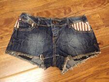 New listing Rue 21 Shorts ~ Button Fly Blue Jean Denim Usa Flag Red & White Stripes sz 3/4