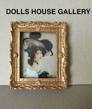 Framed Portrait Of Elegant Lady In A Hat, Dolls House Miniatures, Picture