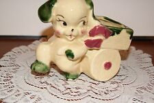 Vintage.Estate.Very Cute Puppy Dog, Puliing A Cart.Planter
