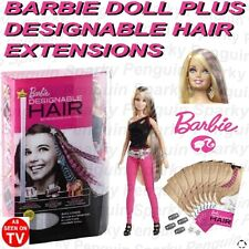 BARBIE DOLL + 16 DESIGNABLE INKJET PRINTER HAIR EXTENSIONS FOR KIDS GIRLS CHILDS