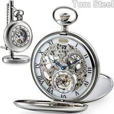 DALVEY Edelstahl Taschenuhr Skelett-Uhr Kette Ständer, Skeleton Pocket Watch NEU