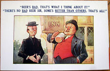 1920s Postcard: Beer Drinking Man & Priest, 'There's No Bad Beer...'