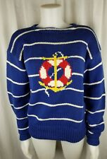 Vintage Ralph Lauren Woman 1980s L. anchor hand knit sweater blue white stripe