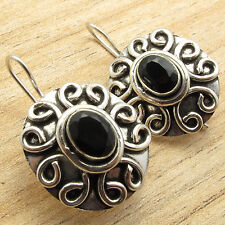 Ideal For Everyday Use !! 925 Silver Plated Classic BLACK ONYX Gem ART Earrings