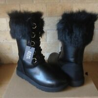 UGG AYA Black Waterproof Leather Fur Toscana Cuff Snow Tall Boots Size 9 Womens