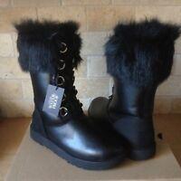 UGG AYA Black Waterproof Leather Fur Toscana Cuff Tall Snow Boots Size 10 Womens
