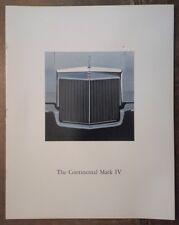 LINCOLN CONTINENTAL MARK IV orig 1972 USA Mkt Large Format Sales Brochure - Mk4