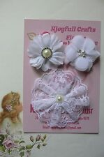 HANDMADE 3 Flower Mixed Styles ALL WHITE Organza Lace 55 & 90mm Njoyfull Crafts