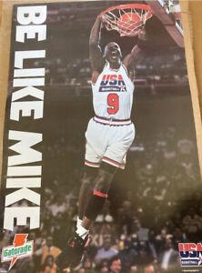 Vtg Michael Jordan Usa Basketball Like Mike Poster 17x25 Bulls Infared Vi Nike
