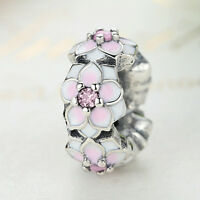 Solid 925 Sterling Silver Pink CZ  Magnolia Bloom Spacer Charm fit DIY Bracelet