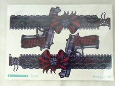 Tatouage temporaire tattoo jarretières dentelle noir rouge pistolet gun revolver